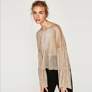 Zara shimmery sheer top with bell sleeves